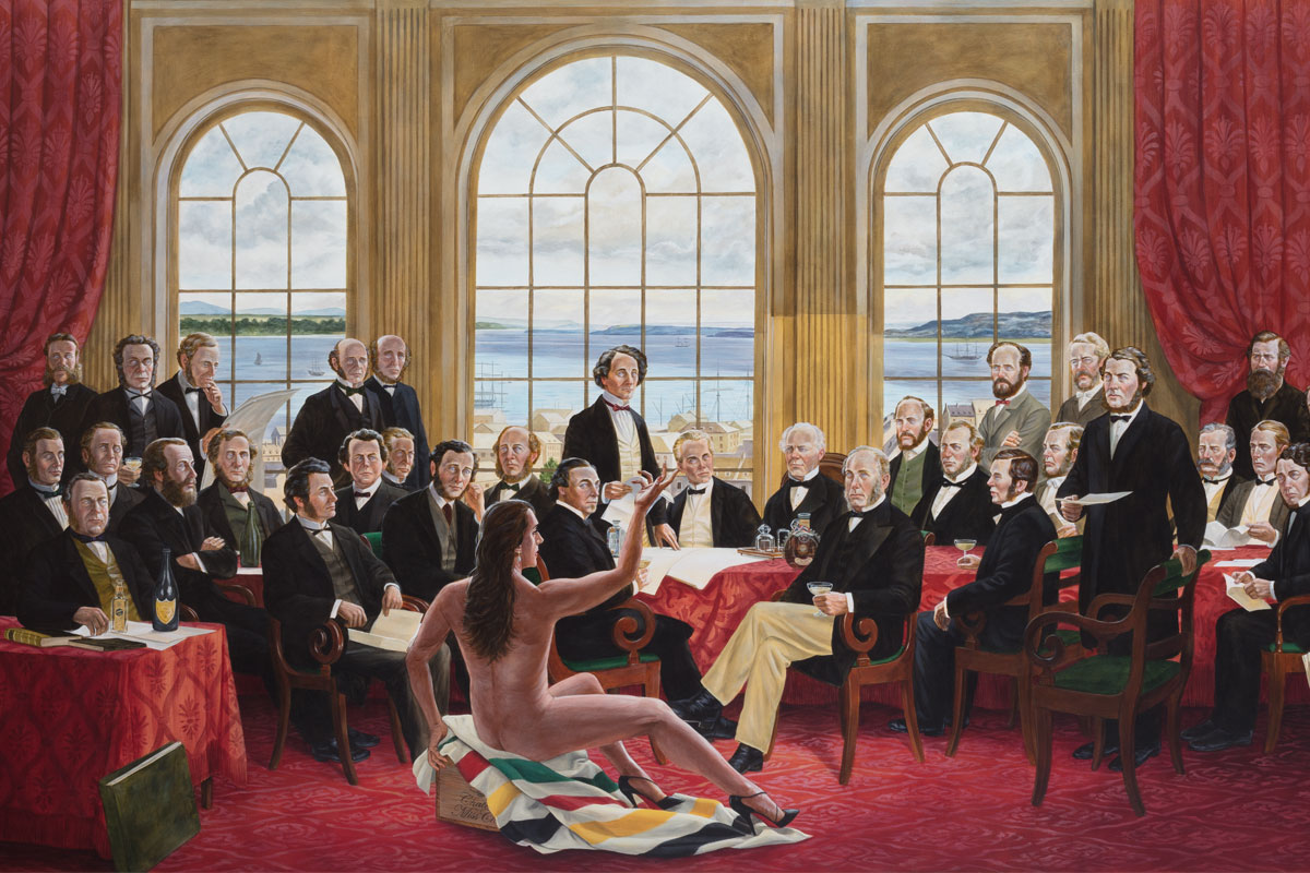 Monkman, <i>The Daddies</i>, 2016. Acrylique sur toile. Collection de Christine Armstrong et Irfhan Rawji.