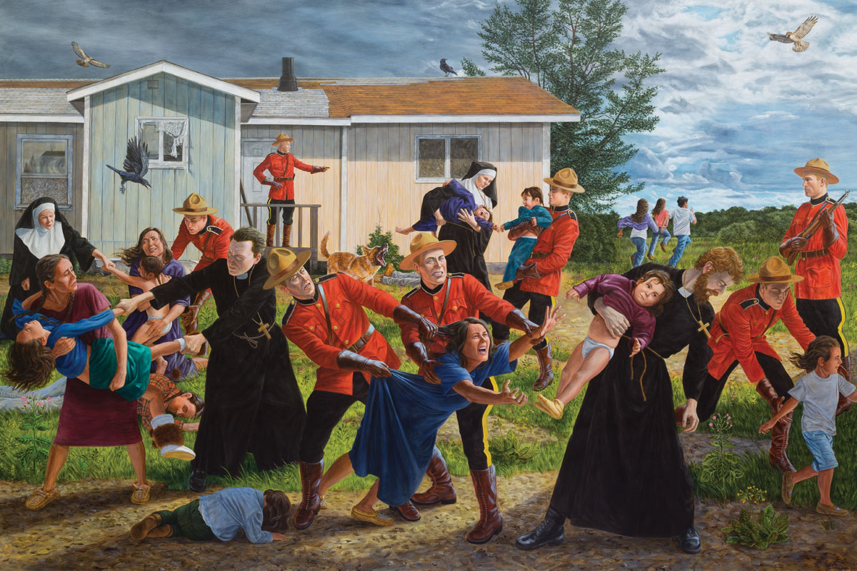 Kent Monkman, <i>The Scream</i>, 2017. Acrylique sur toile. Collection du Denver Art Museum, fonds d'acquisition, Arts autochtones.