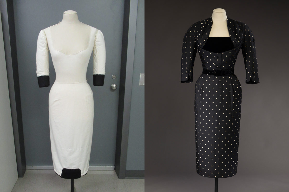 Left: Tailor-made mannequin for <i>Mirza</i>. © McCord Museum, 2020<br/> Right: Afternoon dress, <i>Mirza</i>, Christian Dior, 1951. Gift of Margaret Rawlings Hart, M973.127.7.1-3 © McCord Museum